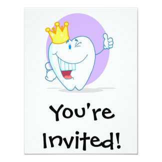 """Smiling Tooth Cartoon Character With Golden Crown 4.25"""" X 5.5"""" Invitation Card"""