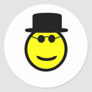 Smiling Tophat Round Sticker