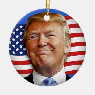 Smiling Trump Ceramic Ornament