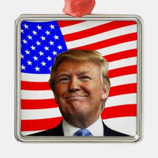 Smiling Trump Silver-Colored Square Ornament