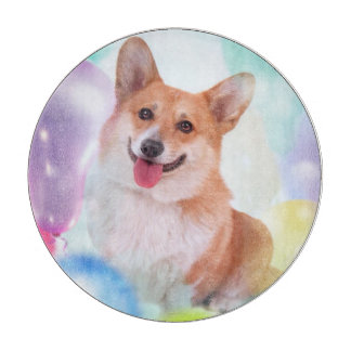 Smiling Welsh Corgi with Balloons Cutting Board