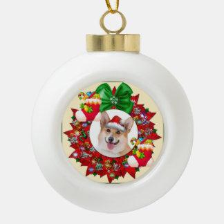 Smiling Welsh Corgi Wreath Ceramic Ball Christmas Ornament