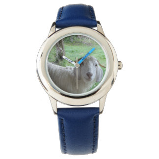 Smiling white goat watch