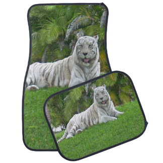 Smiling White Tiger and Palm Trees Car Liners