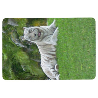 Smiling White Tiger and Palm Trees Floor Mat