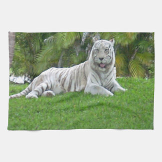 Smiling White Tiger and Palm Trees Hand Towel