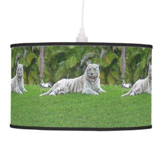 Smiling White Tiger and Palm Trees Pendant Lamp