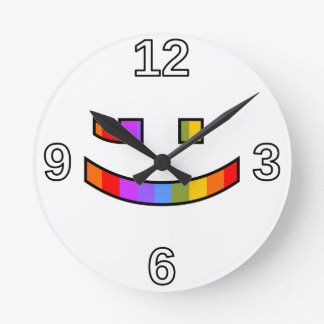 Smiling, Winking, Proud, Rainbow-Colored Face Round Clock
