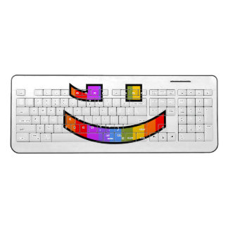 Smiling, Winking, Proud, Rainbow-Colored Face Wireless Keyboard