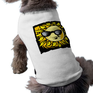 Smiling Yellow Sun With Shades Dog T-shirt
