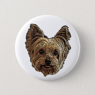 Smiling Yorkie 2 Inch Round Button