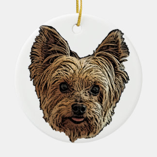 Smiling Yorkie Ceramic Ornament