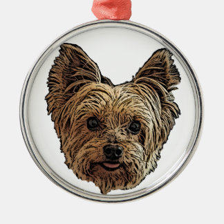 Smiling Yorkie Metal Ornament