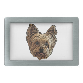 Smiling Yorkie Rectangular Belt Buckles