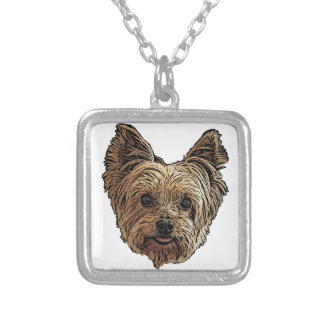 Smiling Yorkie Silver Plated Necklace