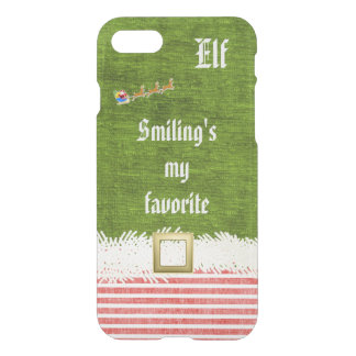 """""""Smiling's my favorite"""" Christmas Elf Quote iPhone 7 Case"""