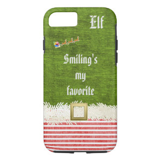 """""""Smiling's my favorite"""" Christmas Elf Quote iPhone 8/7 Case"""