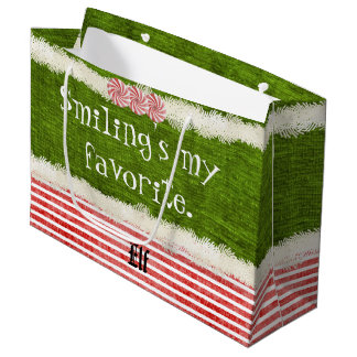 """Smiling's my favorite"" Christmas Elf Quote (L) Large Gift Bag"