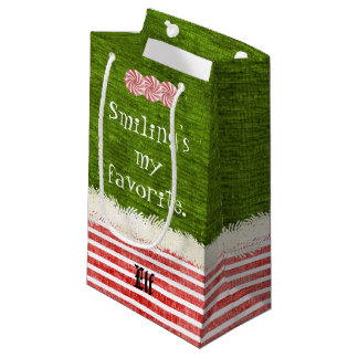 """""""Smiling's my favorite"""" Christmas Elf Quote (S) Small Gift Bag"""