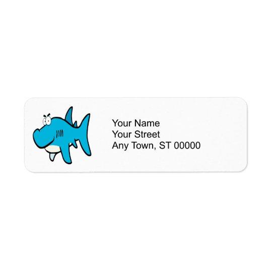 smirking shark cartoon return address label