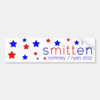 Smitten Bumper Sticker Red, White, and Blue Romney
