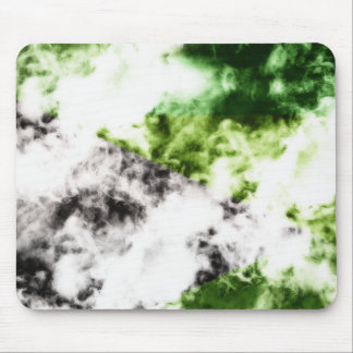 Smoke abstract art green and black Mouse Pad
