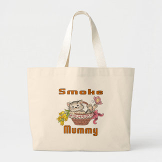 Smoke Cat Mom Large Tote Bag