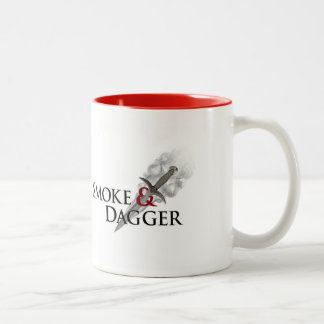 Smoke & Dagger Mug, white with red inside Two-Tone Coffee Mug
