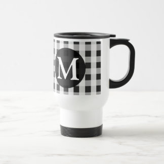 Smoke Gray Gingham Pattern Personalized Monogram Travel Mug