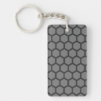 Smoke Hexagon 3 Double-Sided Rectangular Acrylic Keychain