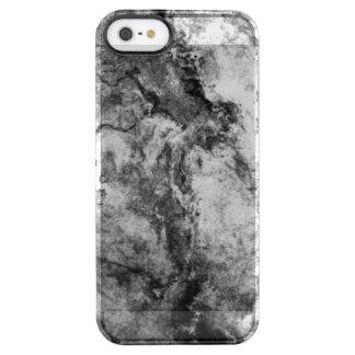 Smoke Streaked Black White marble stone finish Clear iPhone SE/5/5s Case