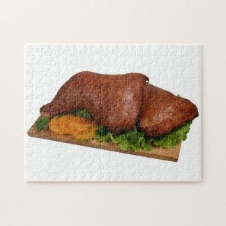 Smoked chicken on wooden board 2 jigsaw puzzle
