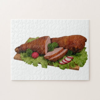Smoked chicken on wooden board. jigsaw puzzle