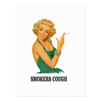 smokers cough lady postcard