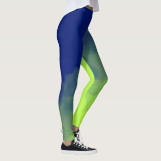 Smokey Dark Blue and Green Leggings