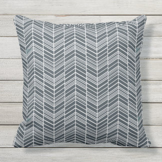 Smokey Grey Feather Chevron Pattern Outdoor Pillow
