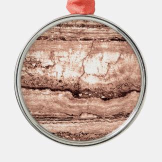 Smokey grey granite Silver-Colored round ornament