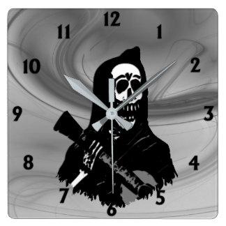 Smokey Guitar Skeleton Serenade Twelve Digits Square Wall Clock
