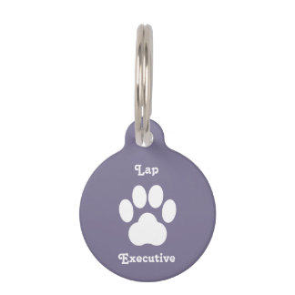"Smokey Purple ""Lap Executive"" Cat Tag Pet Nametag"