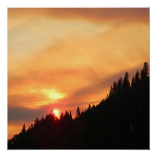 Smokey Sunset over the mountains... Poster