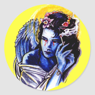 Smoking angel classic round sticker