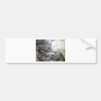 Smoking burning charcoal on barbecue bumper sticker