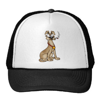 Smoking Cartoon Dog Trucker Hat