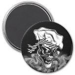 Smoking Chef Skull 5 3 Inch Round Magnet