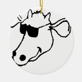 Smoking Cow with Sunglasses Ceramic Ornament