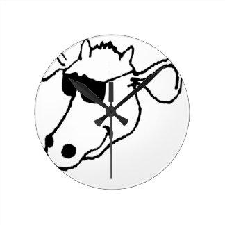 Smoking Cow with Sunglasses Round Clock