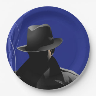 Smoking Detective Paper Plate