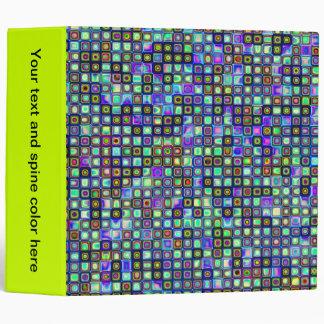 Smoking Green Funky Retro Mosaic Tiles Pattern 3 Ring Binder