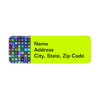 Smoking Green Funky Retro Mosaic Tiles Pattern Return Address Label