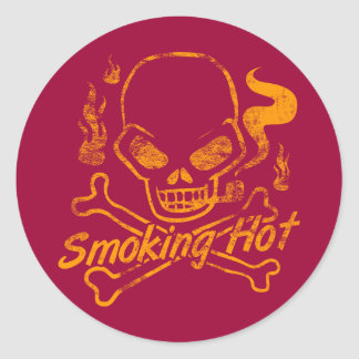 Smoking Hot Skull Classic Round Sticker
